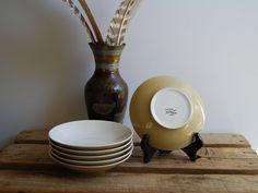 Vintage Japanese Glazed Porcelain Sweet Petal Cream Yellow Pink 9 Serving Bowl