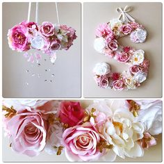 This is a custom listing for flower mobile/floral chandelier and matching 45cm/18 flower letter in any color combination you choose. Put me down in notes your color wishes and feel free to convo pictures! Please contact me if you would like 38 cm/15 or 61 cm/24 letter, there are
