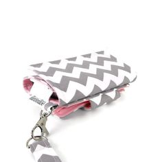 The Errand Runner - Cell Phone Wallet - Wristlet - for iPhone/Android - Chevron in Gray/Pink on Etsy, $32.00