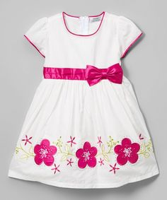 Raspberry Floral Embroidery Bow A-Line Dress - Toddler & Girls