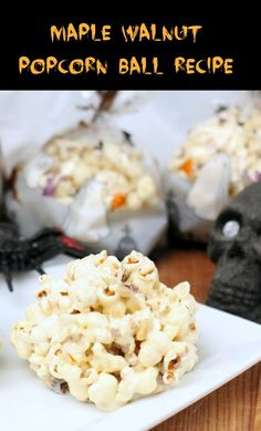 Popcorn Ball Recipe: Maple Walnut Popcorn Balls for Halloween via @ellenblogs
