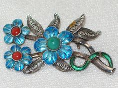 FAB VINTAGE JEWELLERY S925 SILVER BABY BLUE ENAMEL CHINESE/RUSSIAN? BROOCH/PIN. SOLD.