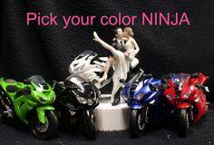 NINJA Kawasaki Motorcycle Bike Wedding Cake by YourCakeTopper