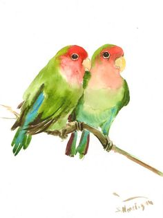 Lovebirds original watercolor painting 12 X 9 in by ORIGINALONLY