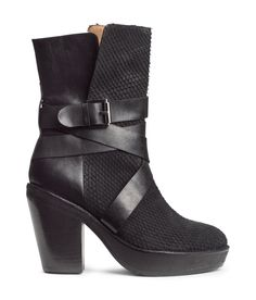 Add some drama to your ensemble in these leather boots with faux snakeskin panels & decorative buckle straps. | H&M Shoes