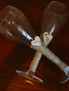 Rustic Wedding Toasting Glasses by ChiKaPea on Etsy, $35.00