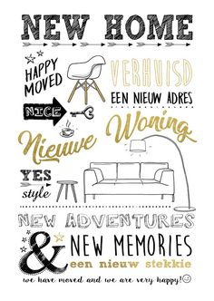 New Home Quotes, Home Quotes And Sayings, Real Estate Memes, Bujo Doodles, How To Make Drawing, Doodle Lettering, Happy House, Moving Day, Creative Posters