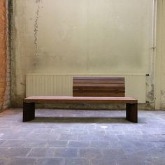 Architectonic bench Curved Backrest corten and wood