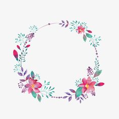 Purple Flower fronteras, Creative, Hollow Circle, Flores Imagen