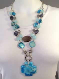Double strand medium length gemstone necklace. Turquoise blue and black mother of pearl, large smoky quartz focal with chunky blue imperial jasper cross pendant - Michela Rae