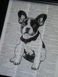 DOG Art Print Dictionary Art Print French Bulldog Art Print Vintage Dictionary Page Upcycled Wall Art