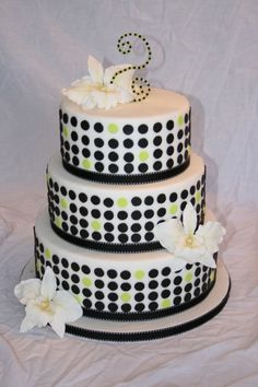Modern wedding cake. With blue dots instead of green?