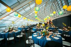 Café Galileo turns from daytime ceremony to nighttime gala with intimate flair as The Adler Planetarium sets the stage for dinner and dancing.