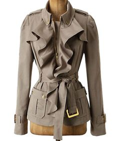 8 Great Trench Coats for Spring    8 Great Trench Coats for Spring    Femme Trench Jacket by Elevenses  For a little bit of boy-meets-girl style, tie on this military-inspired polyester trench accented with cascading ruffles. Pair it with skinny, cropped trousers and ballet flats for a smart, Parisian look.    To buy: $188, anthropologie.com.