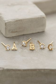 My Christmas Wish List Anthropology Initial Gold Earrings