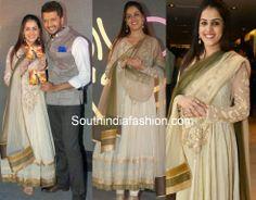 Pregnant Genelia in Off White Anarkali ~ Celebrity Sarees, Designer Sarees, Bridal Sarees, Latest Blouse Designs 2014