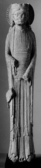 A 12th Century Bliaut  Cathedral Basilica of St-Denis, Paris, 1145-50 (Metroplotian museum of art - cloisters): See the squared, deep slit-neckline and the long wrapped belt with tassles.