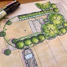 Garden architecture drawing art Best Ideas A slope with stone steps With. Landscape Architecture Drawing, Landscape Sketch, Landscape Design Plans, Garden Architecture, Landscape Drawings, Craftsman Exterior, Colonial Exterior, Modern Exterior, Exterior Design