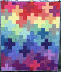 Rainbow Plus Quilt by Bryan House Quilts. I think a plus quilt will be my next quilt project! Scrappy Quilts, Baby Quilts, Strip Quilts, Quilting Projects, Quilting Designs, Sewing Projects, Quilt Design, Plus Quilt, Cross Quilt