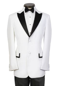 Custom Made Mens Prom Suits White Tuxedo with Black Peak Lapel and Luxury  two buttons - 3 pieces (jacket+Tie+pants) T-13 on on Suzhou Itailor wedding Ltd. $159.00