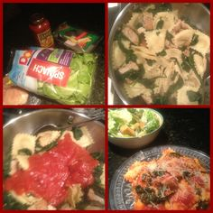 Ravioli !  10 min Dinner recipe:   1. Boil four cheese ravioli 5-7 min, throw spinach in the pot during boiling process  2.  Brown chicken breast(season to taste)  3. Mix spinach, ravioli, & chicken breast into a bowl  4. Pour Classico for cheese tomato sauce over the entree & mix!  *  Add a quick Cesar salad    & You've Got Dinner!!!