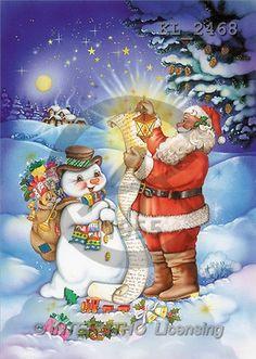Interlitho, Michele, CHRISTMAS SANTA, SNOWMAN, paintings, santa, snowman, list(KL2468,#X#) Weihnachtsmänner, Schneemänner, Weihnachen, Papá Noel, muñecos de nieve, Navidad, illustrations, pinturas
