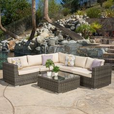 Santa Rosa Outdoor 6-piece Wicker Seating Sectional Set with Sunbrella Cushi by Christopher Knight Home