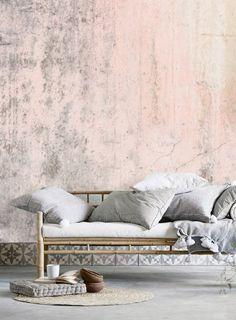 removable wallpaper mural, self adhesive wallpaper, distressed rustic wall, grunge wallpaper, pink blush wall mural peel&stick