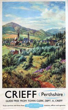 Vintage British Rail Crieff Perthshire Railway Poster A3 Print
