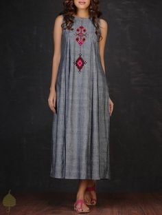 Grey-Red Embroidered Inverted Box Pleated Cotton Dress by Jaypore Linen Dresses, Cotton Dresses, Casual Dresses, Fashion Dresses, Summer Dresses, Kurta Designs, Blouse Designs, Mode Boho, Indian Attire