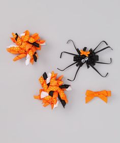 Take a look at this Orange Spooky Spider Clip Set by The Hair Candy Store on #zulily today!