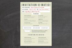 Invitation-O-Matic Wedding Invitations by Erin Pescetto at minted.com