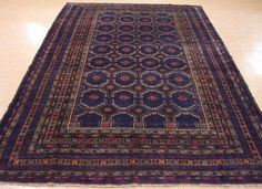 7 x 11 AFGHAN BALOUCH TRIBAL Hand Knotted Wool BLUE RED GREEN NEW Oriental Rug #Unbranded #AfghanBalouchTribalGeometric