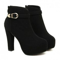 $33.55 Pretty Buckle and Suede Design Women's Black Short Boots