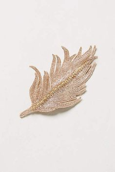 Embroidered Feather Hair Clip - anthropologie.com