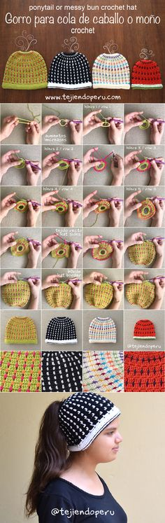 Crochet: gorro para cola de caballo o moño tejido a crochet en punto bloques! Ponytail or messy bun crochet hat (block stitch! Easy Crochet Hat, Crochet Beanie Pattern, Love Crochet, Crochet Baby, Knit Crochet, Crochet Patterns, Hat Blocks, Modern Crochet, Crochet Videos