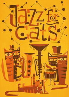 I have Mambo for Cats, but must get this: Jim Flora record cover design for Jazz for Cats record album Art And Illustration, Graphic Design Illustration, Cat Illustrations, Jazz Cat, Sketch Manga, Jazz Poster, Cat Posters, Design Graphique, Album Design