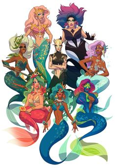 times eight: The Drag Daughters of Triton from season 10 of Ru Paul's Drag Race, JUST under the wire in time for DragCon this past weekend. Drag Daughters of Triton, vol. Valentina Drag, Drag Queen Outfits, Rupaul Drag Queen, Queen Drawing, Queen Art, Ligne Claire, Mermaids And Mermen, Merfolk, Fanart