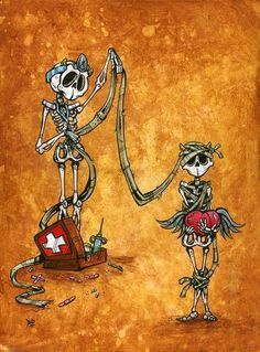 The winged skeleton saves his falling friend from a fate of eternal damnation. Painting Process The clayboard was painted with...