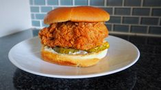 Popeyes might have run out of sandwiches (at least in some locations), but you can still get your hands on one — from the comfort of your home, no less. Did our copycat Popeyes chicken sandwich turn o Popeyes Chicken Sandwich Recipe, Popeyes Fried Chicken, Spicy Chicken Sandwiches, Fried Chicken Sandwich, Fried Chicken Recipes, Crispy Chicken, Chicken Meals, Recipe Chicken, Chicken Marinades