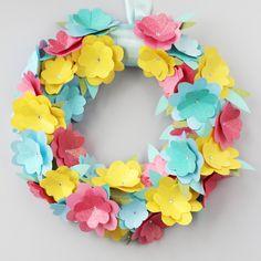 Simple Diy Spring Paper Flower Wreath.