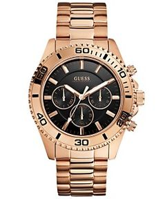 GUESS Watch, Men's Chronograph Rose Gold-Tone Stainless Steel Bracelet 45mm U0170G3