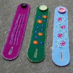 embroidered felt cuffs by Audrey B. / Studio Paars #wool #felt #embroidery #bracelet | blogged: http://hetkabinet.blogspot.com/2012/03/meer-vilten-cuffs.html