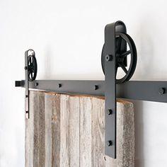 5-10FT Indoor Black Round Single Barn Door Wood Hardware Roller Track Big Wheel Antique Sliding Door Hardware Steel Rail Kits