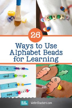 26 Awesome Ways to Use Alphabet Beads for Learning. Give kids hands-on practice with these alphabet beads activities, from sensory bags and discovery jars to sight word strings and alphabet battles. Learning The Alphabet, Alphabet Activities, Kids Learning, Early Learning, Alphabet Beads, Letter Beads, Preschool Lesson Plans, Preschool Ideas, Sensory Bags