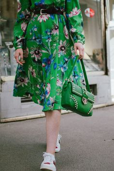 c45e00c02 Green midi floral dress, gucci ace heart embroidered sneakers, prada green  leather shoulder bag