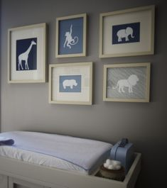 Animal silhouette artwork--Very cute idea for a nursery!