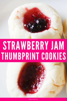 These strawberry jam thumbprint cookies are buttery soft and filled with tasty fruit jam. This is such a simple tasty recipe that we've been making these strawberry jam cookies every few weeks for years now. Jam Thumbprint Cookies, Jam Cookies, Coconut Chocolate Chip Cookies, Chocolate Recipes, Easy Strawberry Jam, Fruit Jam, Dessert Recipes, Cookie Recipes, Food Presentation