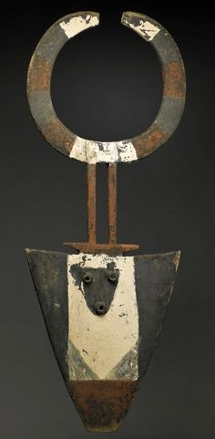 Africa | Bedu mask from the Senufo people | Wood and pigment | 20th century
