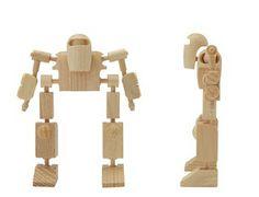 Robots con Madera Reciclado, Juguetes Ecoresponsables